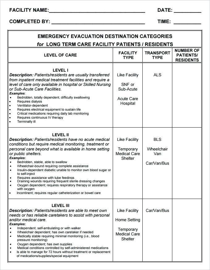 Church Emergency Evacuation Plan Template