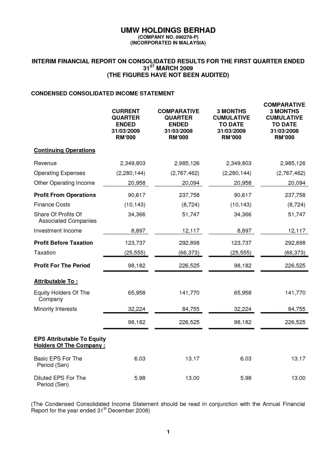 Church Income Statement Format