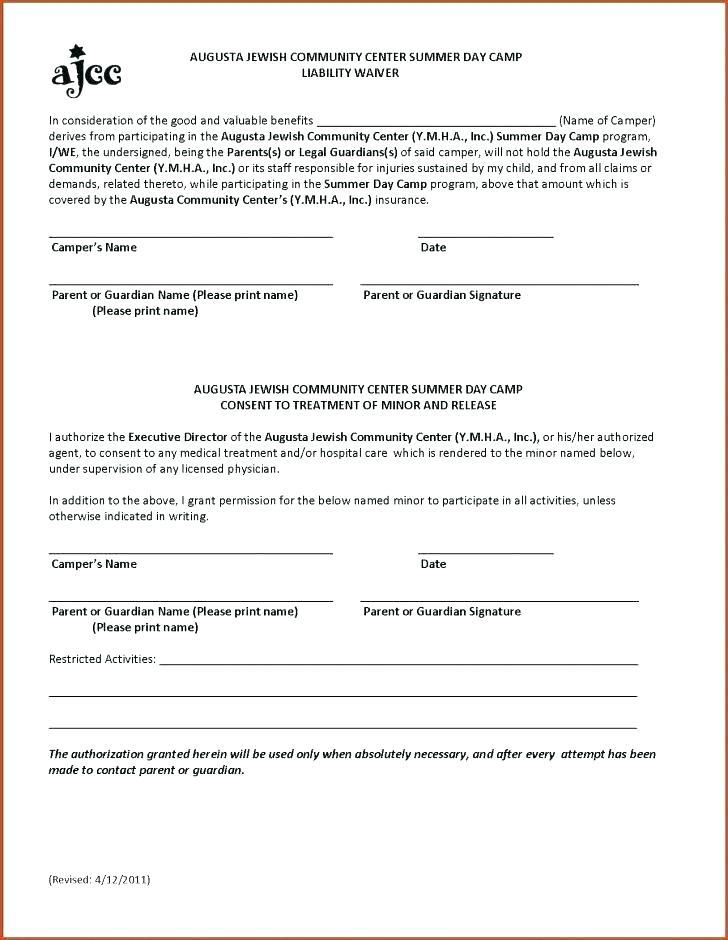 Church Release Of Liability Form Template