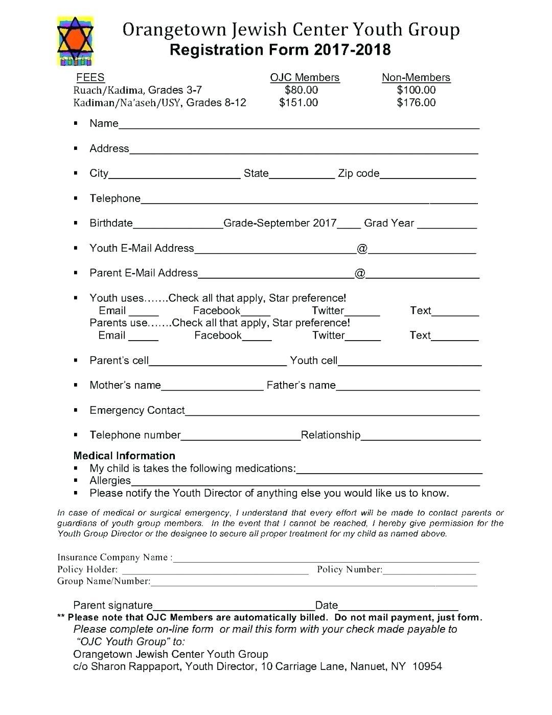 Church Retreat Registration Form Template