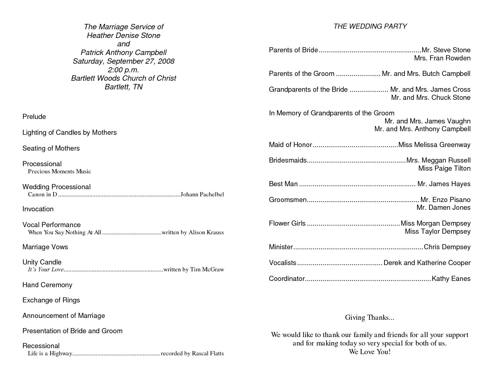 Church Wedding Ceremony Program Sample