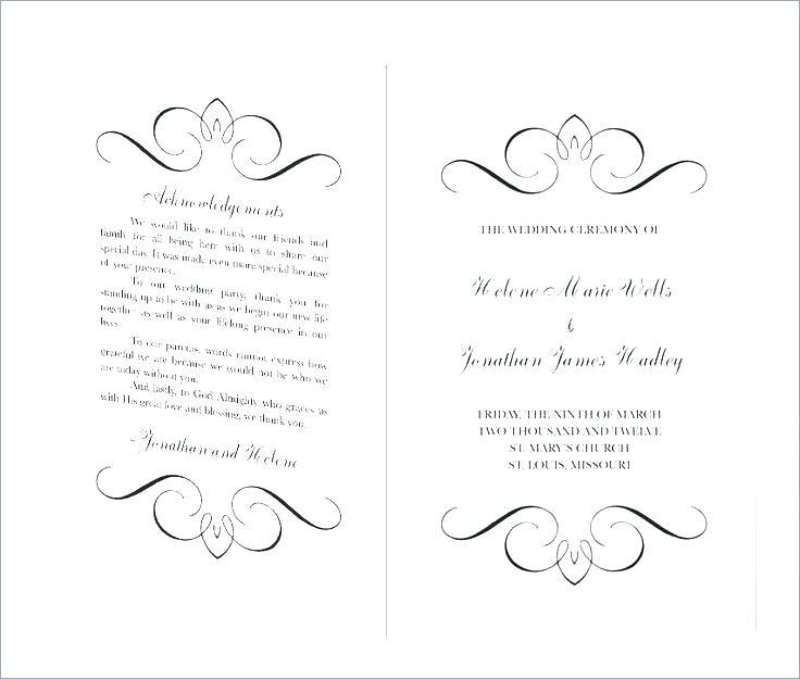 Church Wedding Ceremony Program Template
