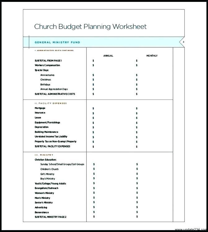 Church Youth Budget Template