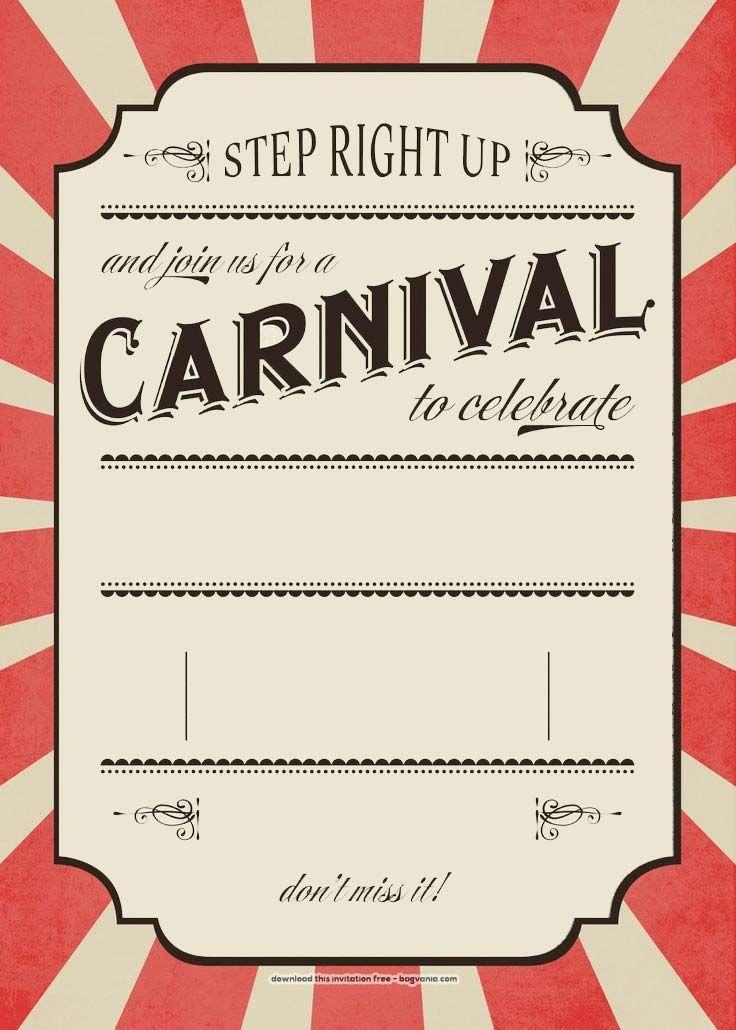 Circus Party Invitation Template Download