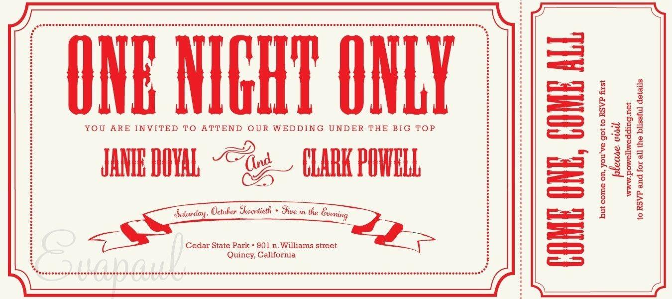Circus Ticket Template Invitation