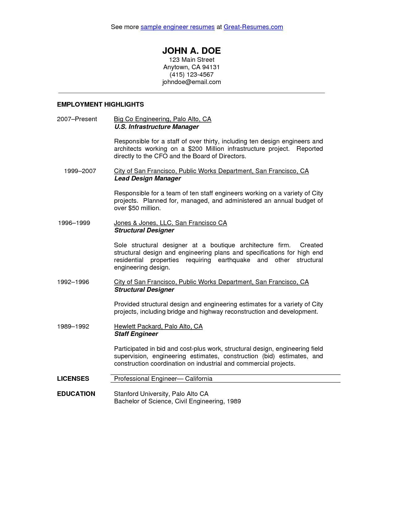 Civil Engineering Internship Resume Template