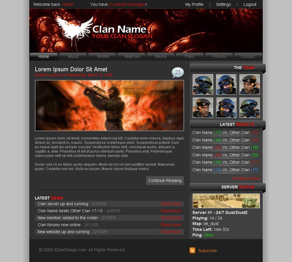 Clan Website Template