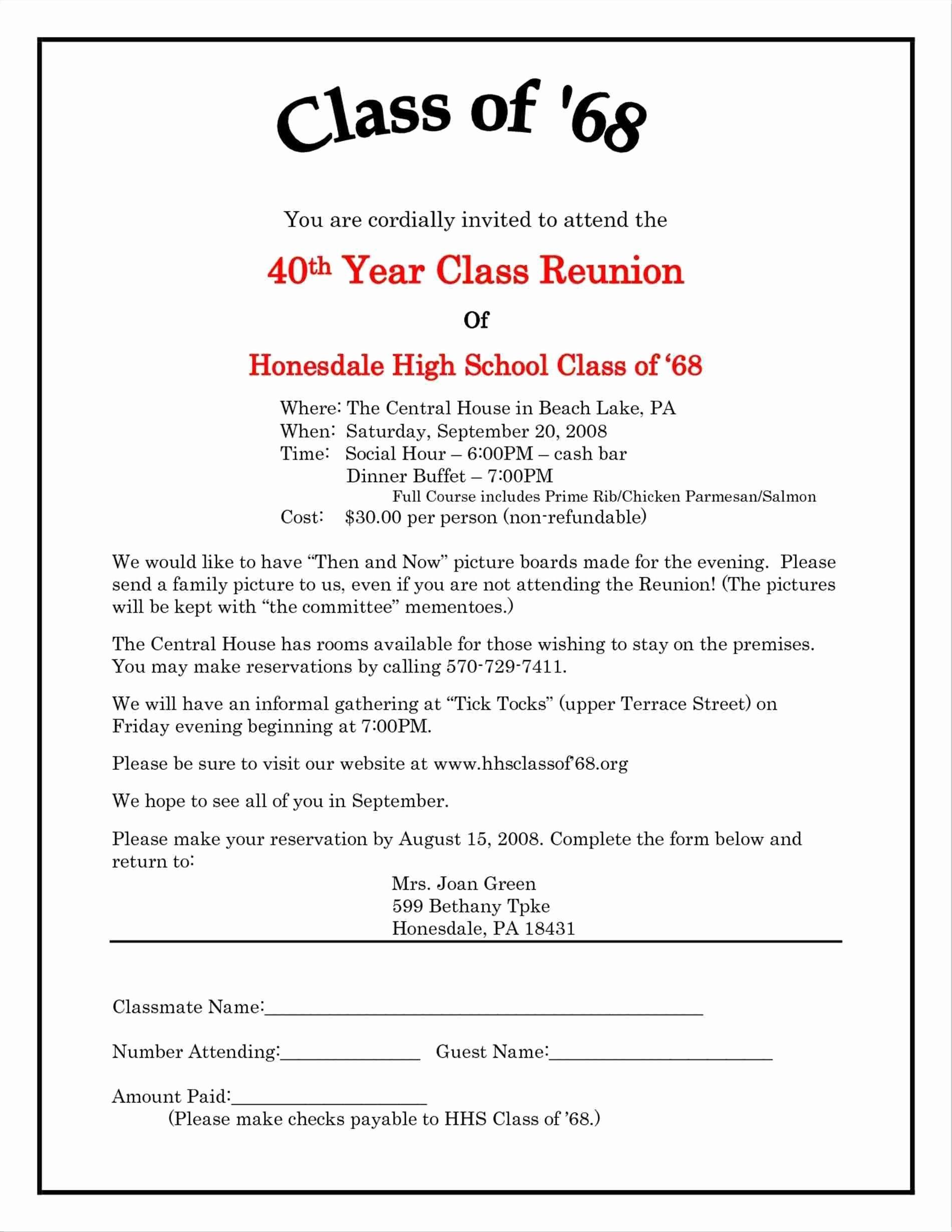 Class Reunion Invitation Template