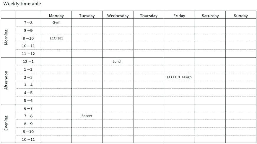Class Schedule Planner Template