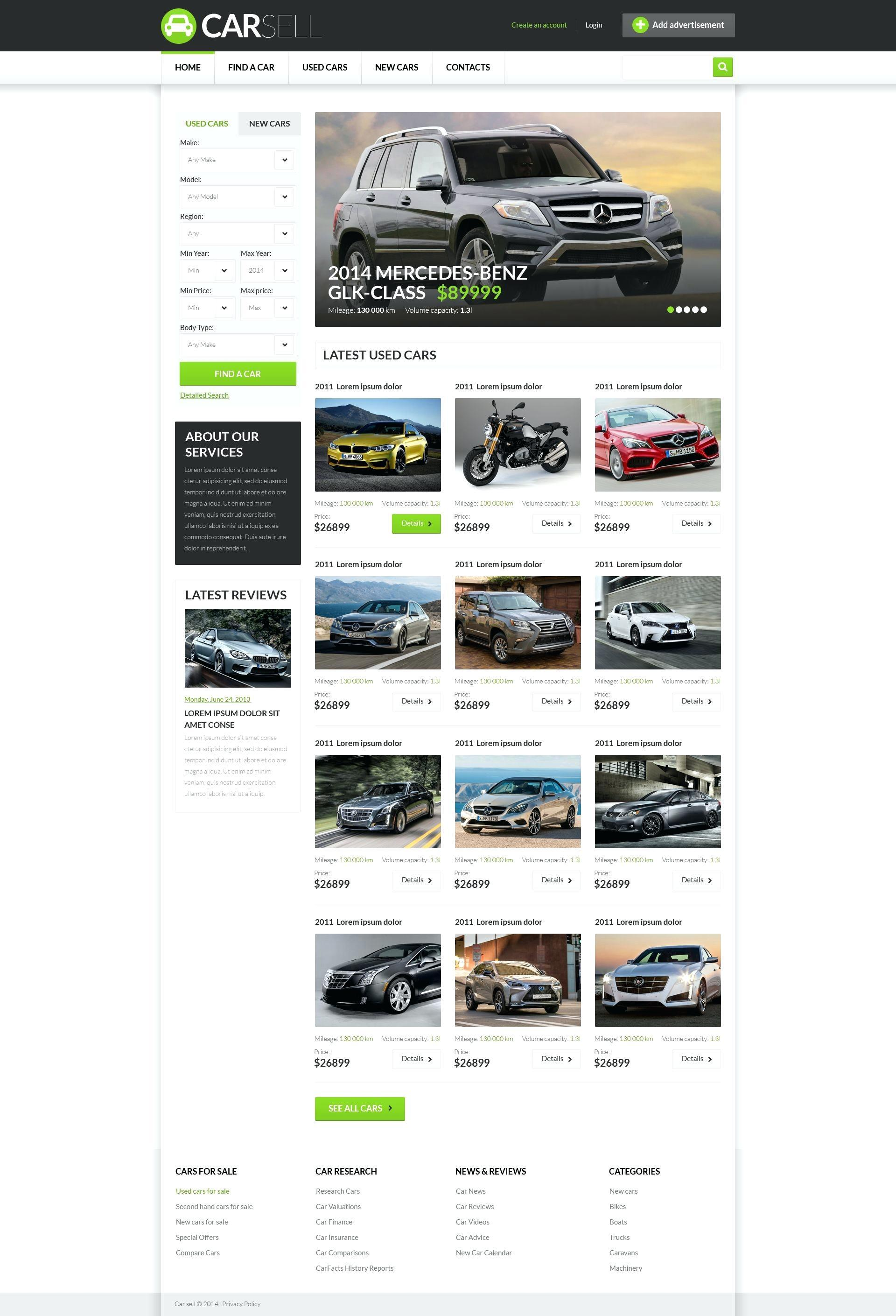 Classic Car Dealer Website Template
