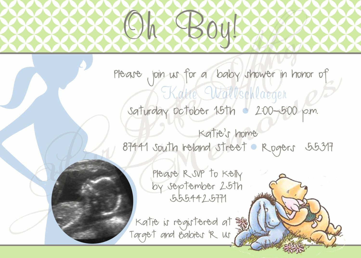 Classic Winnie The Pooh Baby Shower Invitations Templates