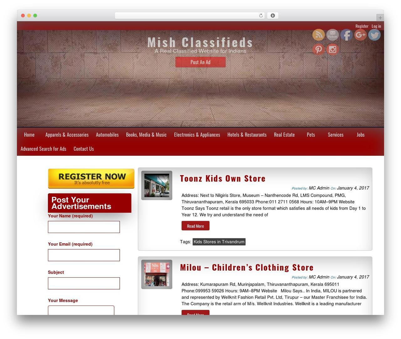 Classified Ads Template WordPress