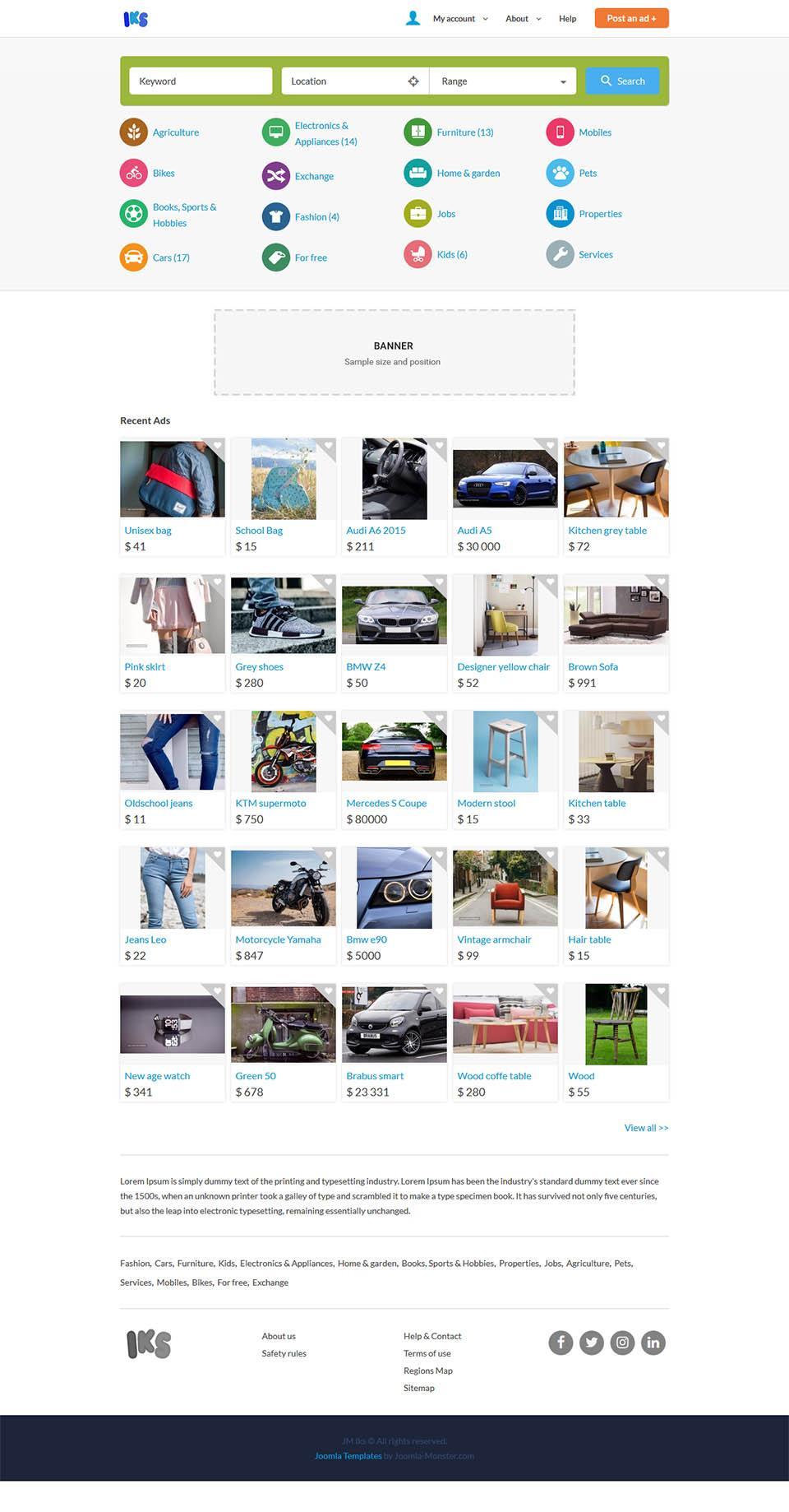 Classified Ads Website Template Joomla