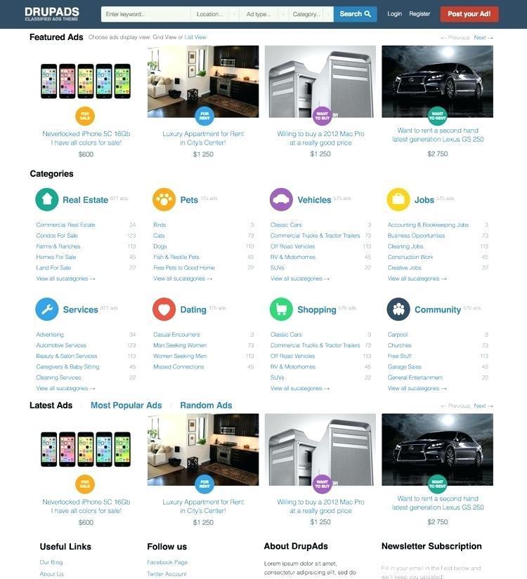 Classified Ads Website Template WordPress Free