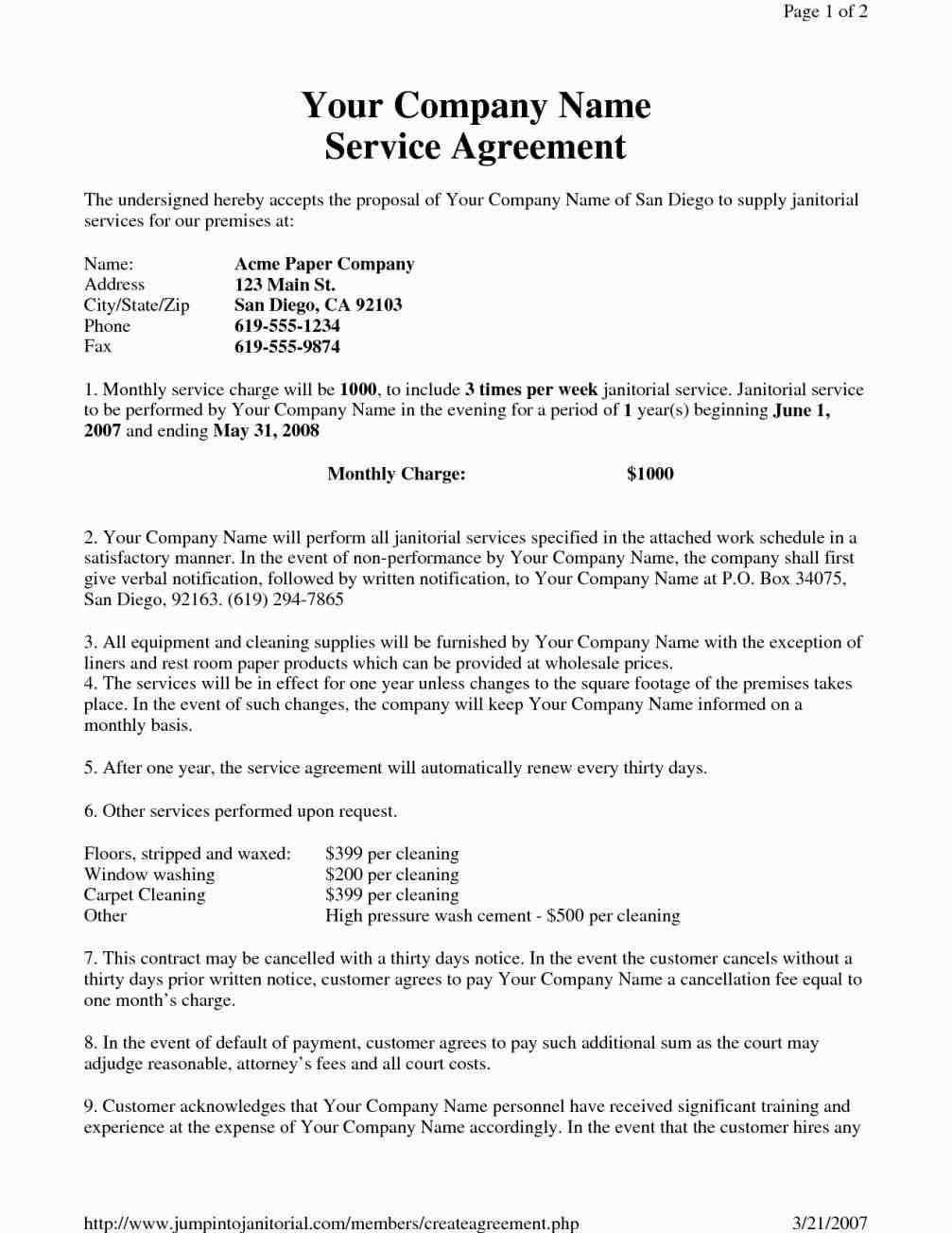 Cleaning Agreement Form