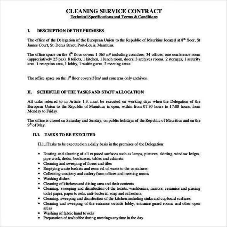 Cleaning Agreement Template Uk