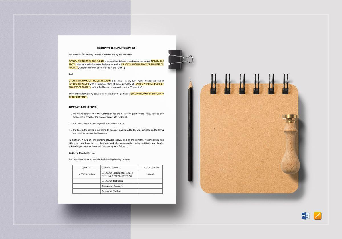 Cleaning Company Contract Template