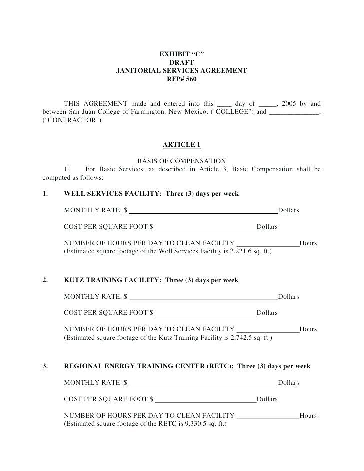 Cleaning Contract Bid Template