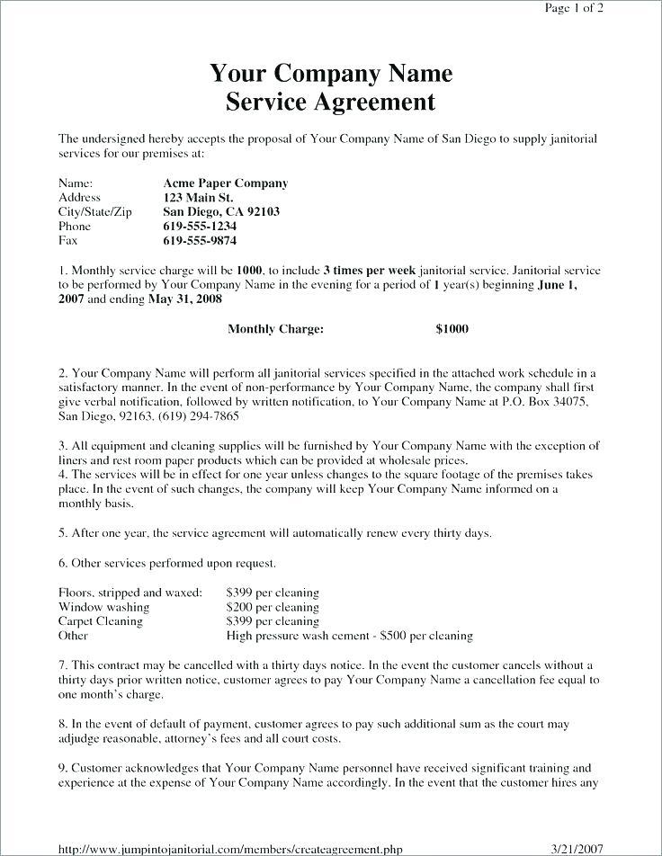Cleaning Contract Template Free
