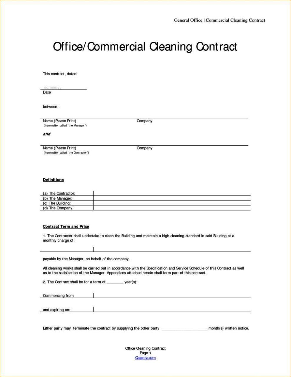 Cleaning Contracts Templates
