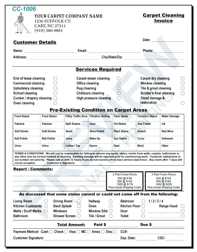 Cleaning Invoice Examples