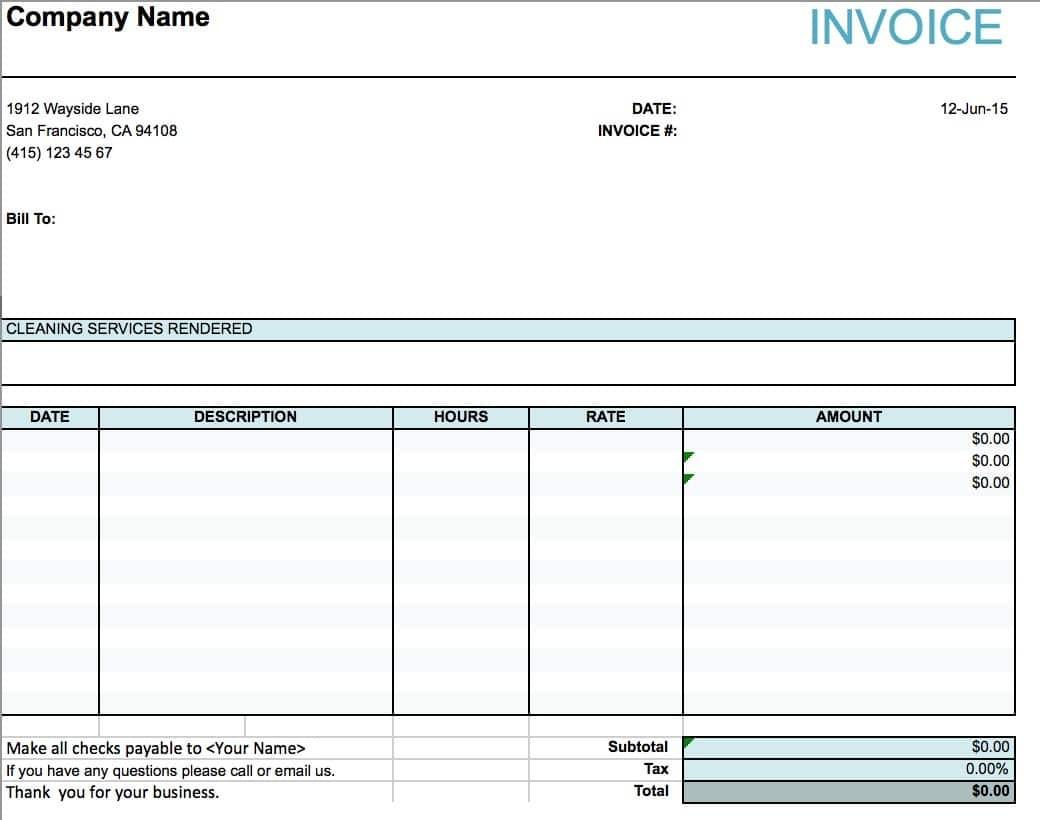Cleaning Invoice Template Free