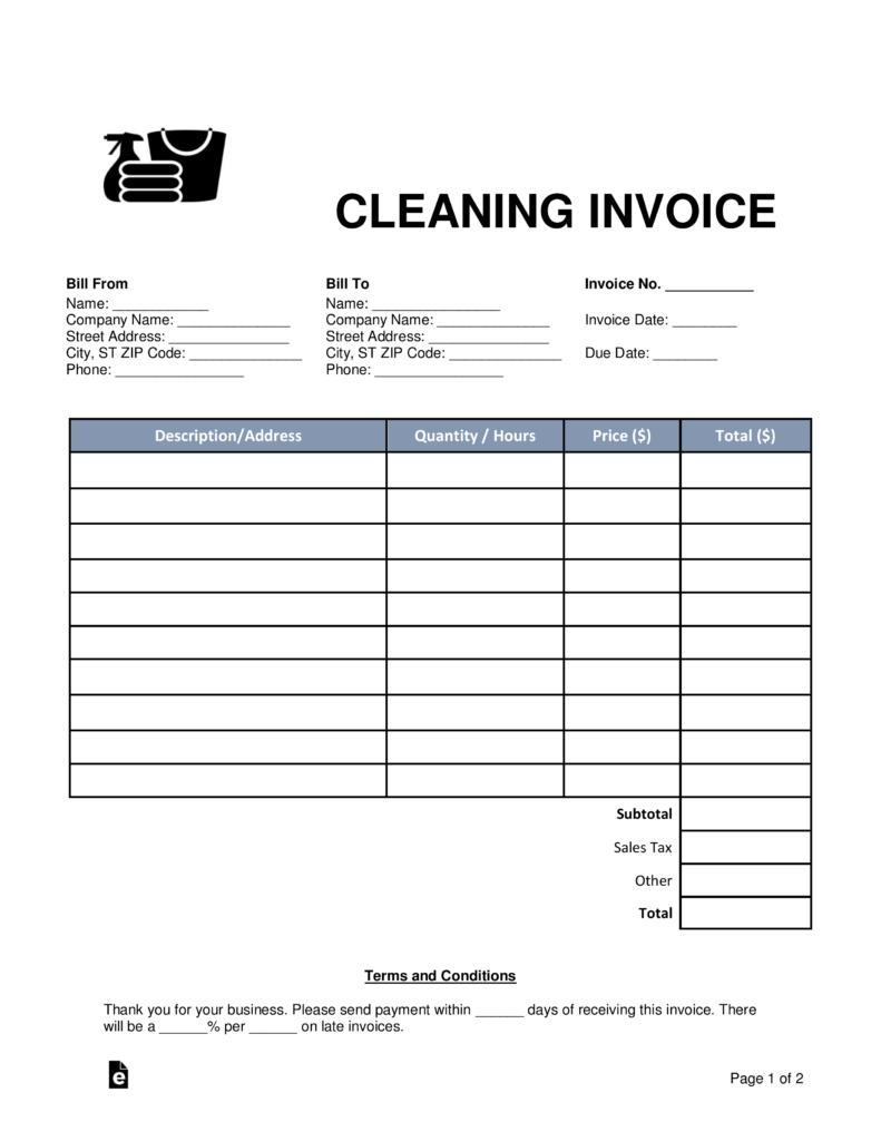 Cleaning Invoice Template Word