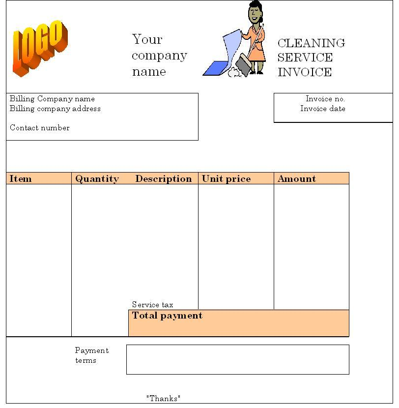 Cleaning Service Invoice Format