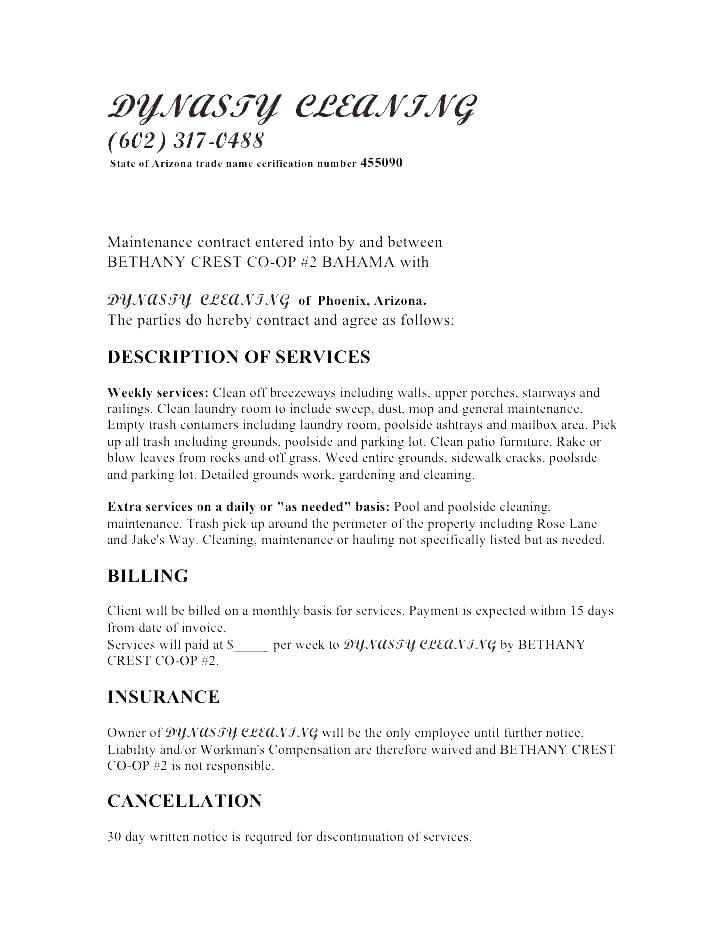 Cleaning Services Contract Agreement Template