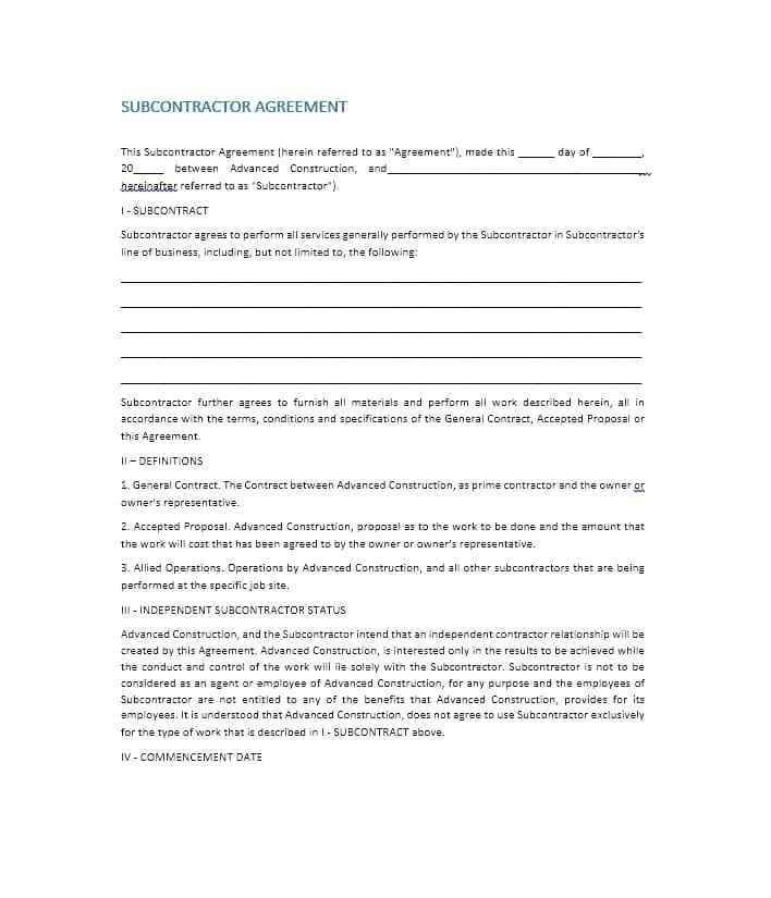 Cleaning Subcontractor Agreement Template Australia