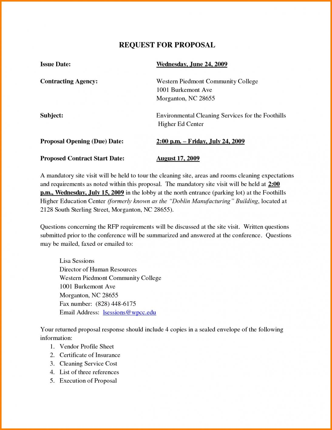Cleaning Tender Proposal Template