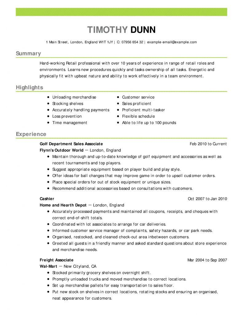 Clothing Store Manager Cv Template