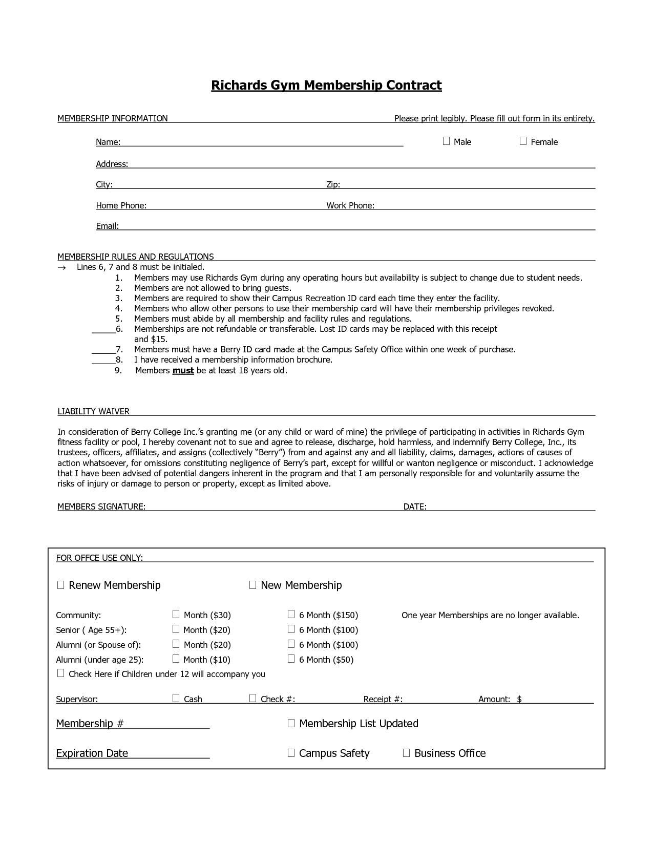Club Membership Contract Template