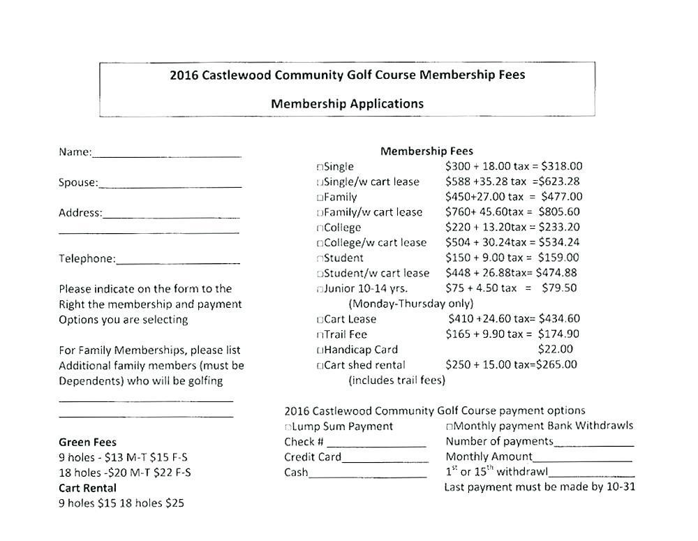 Club Membership Form Template Pdf