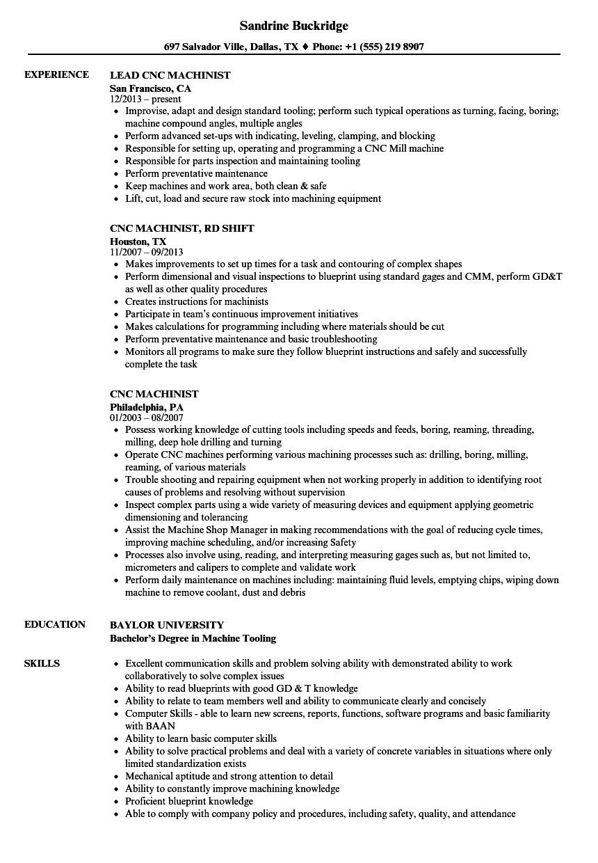Cnc Machinist Resume Samples