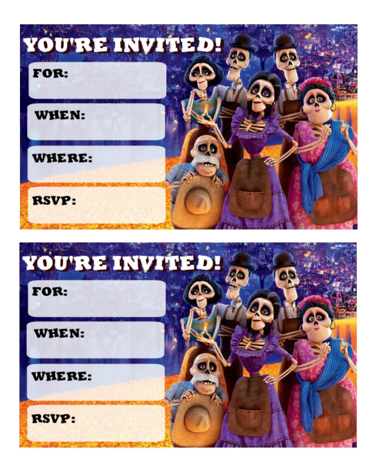 Coco Movie Invitation Templates