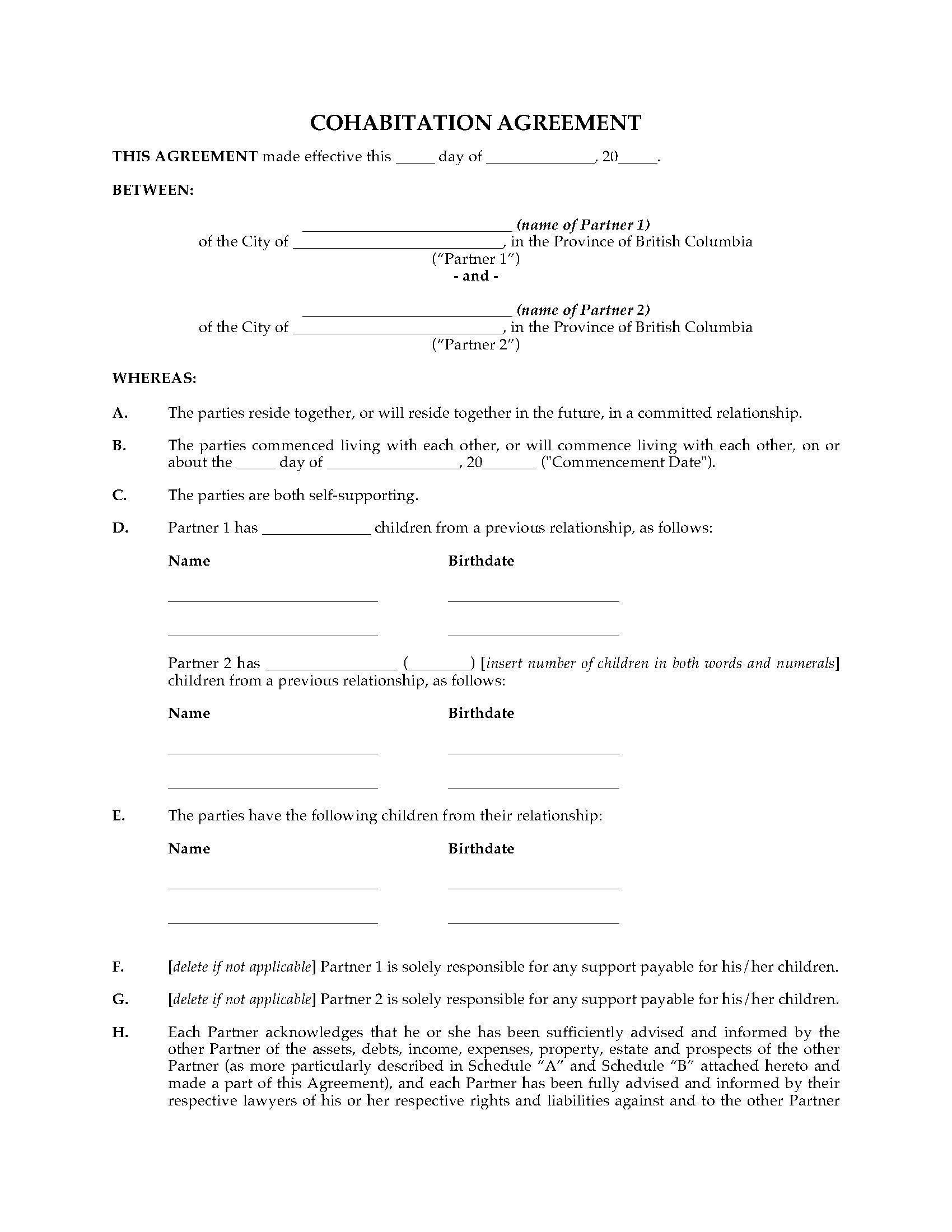 Cohabitation Agreement Bc Form