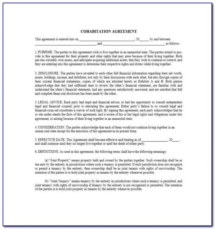 Cohabitation Agreement Form Free Australia