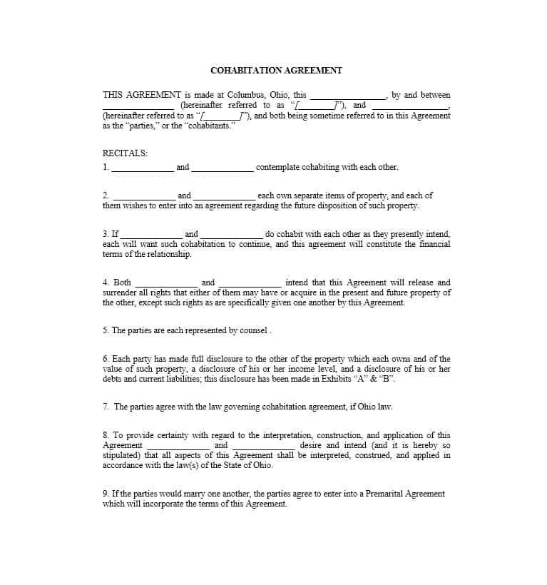 Cohabitation Agreement Template Pdf