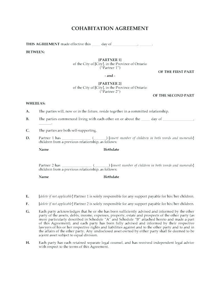 Cohabitation Agreement Template Uk Free