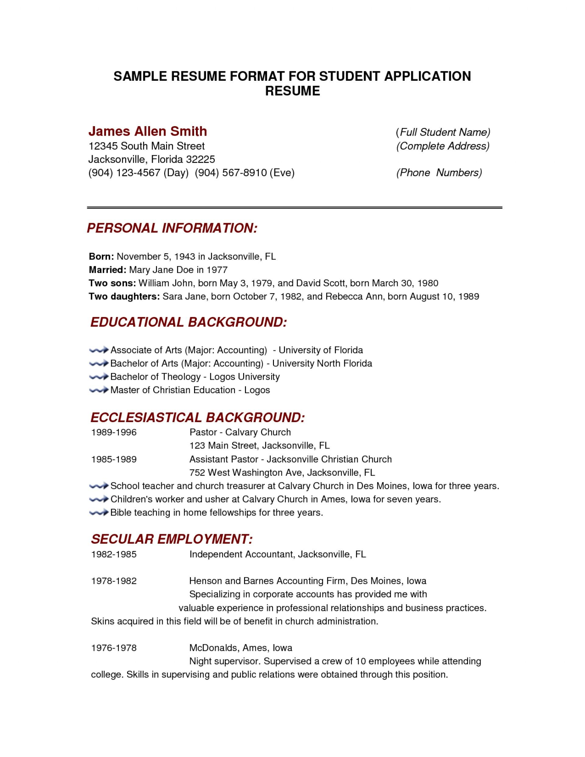 College Application Activities Resume Template