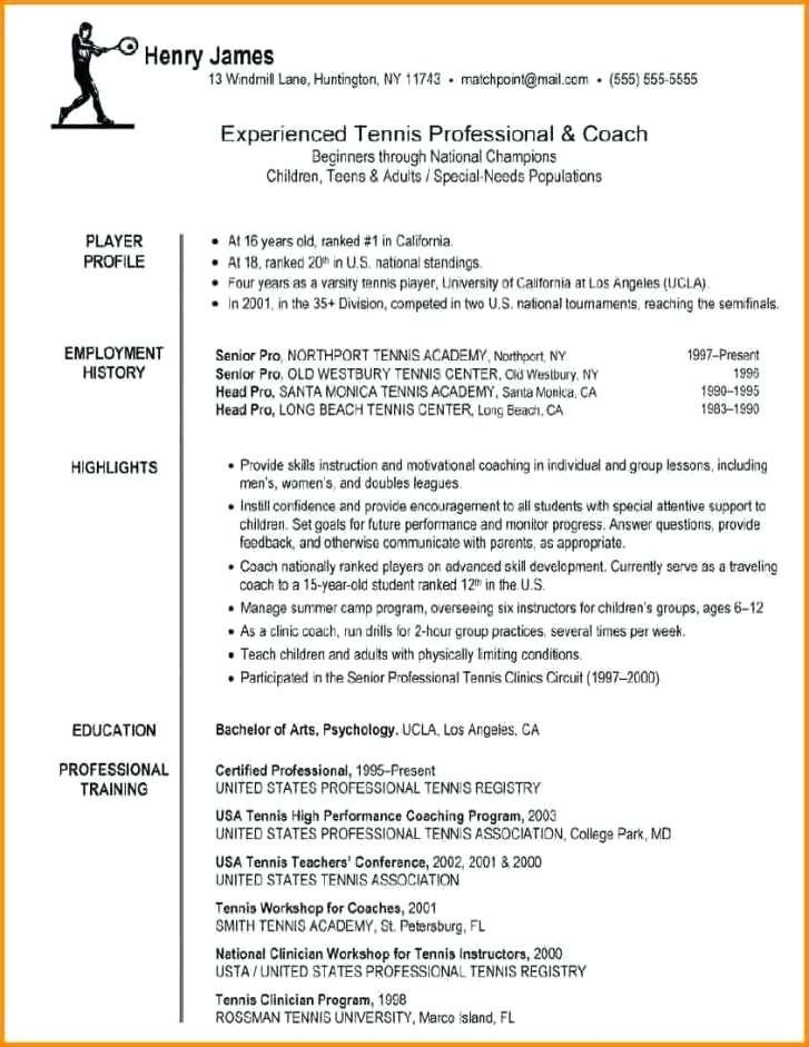 College Baseball Coach Resume Template