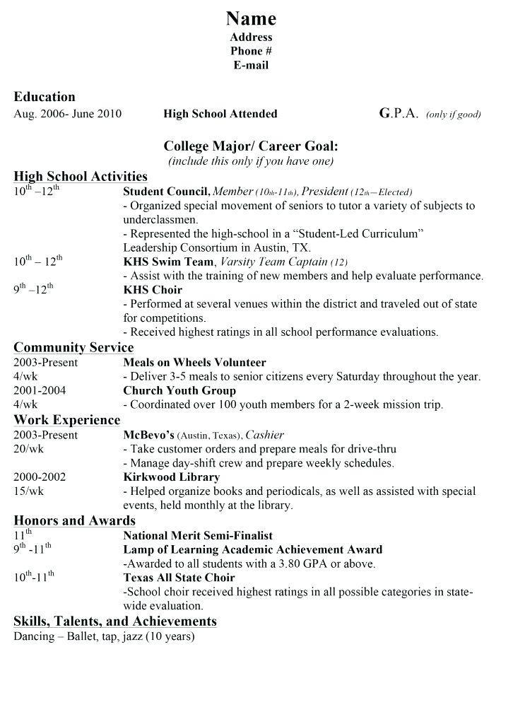 College Resume Template For High School Seniors
