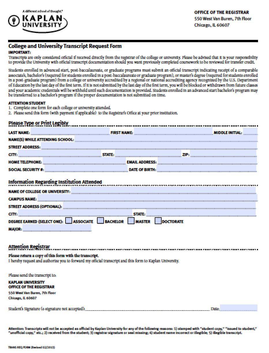 College Transcript Request Form Template
