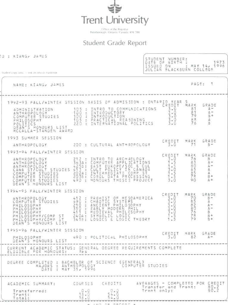 College Transcript Template Doc