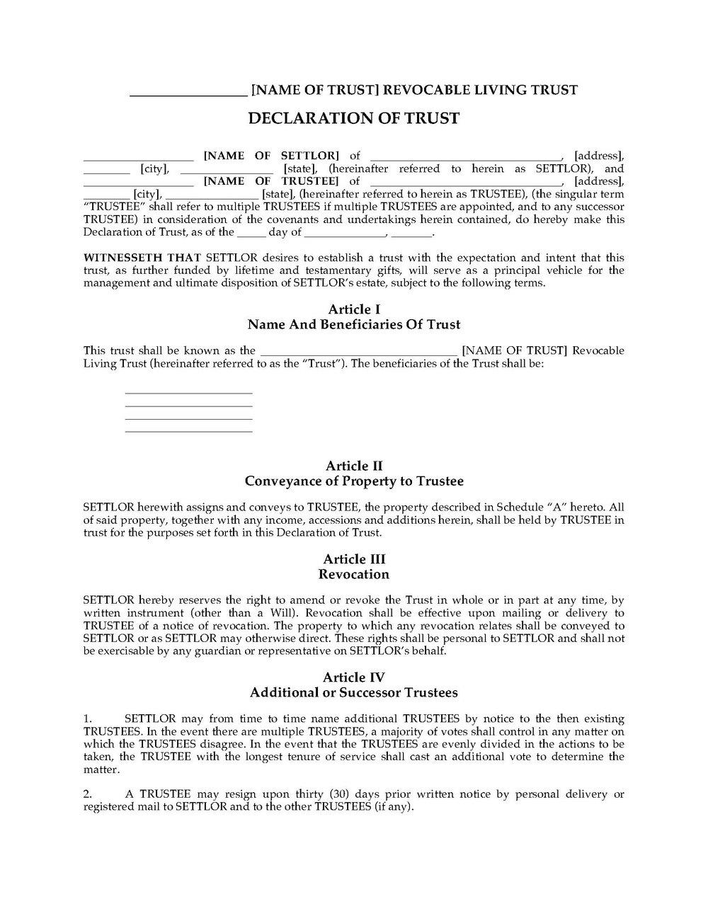 Colorado Revocable Living Trust Forms