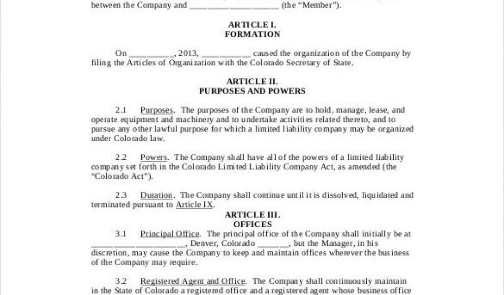 Colorado Single Member Llc Operating Agreement Template