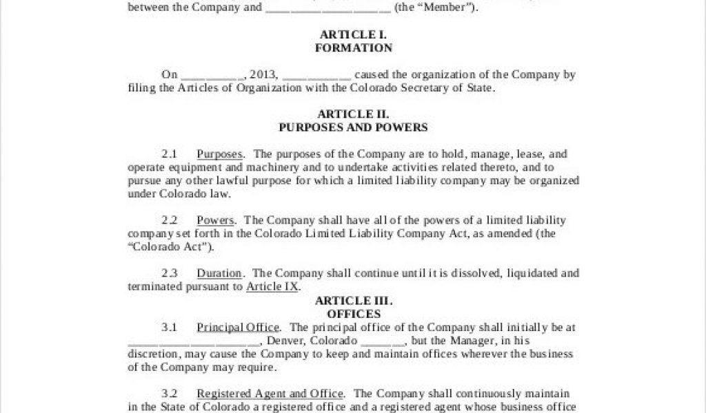 Colorado Single Member Llc Operating Agreement Template