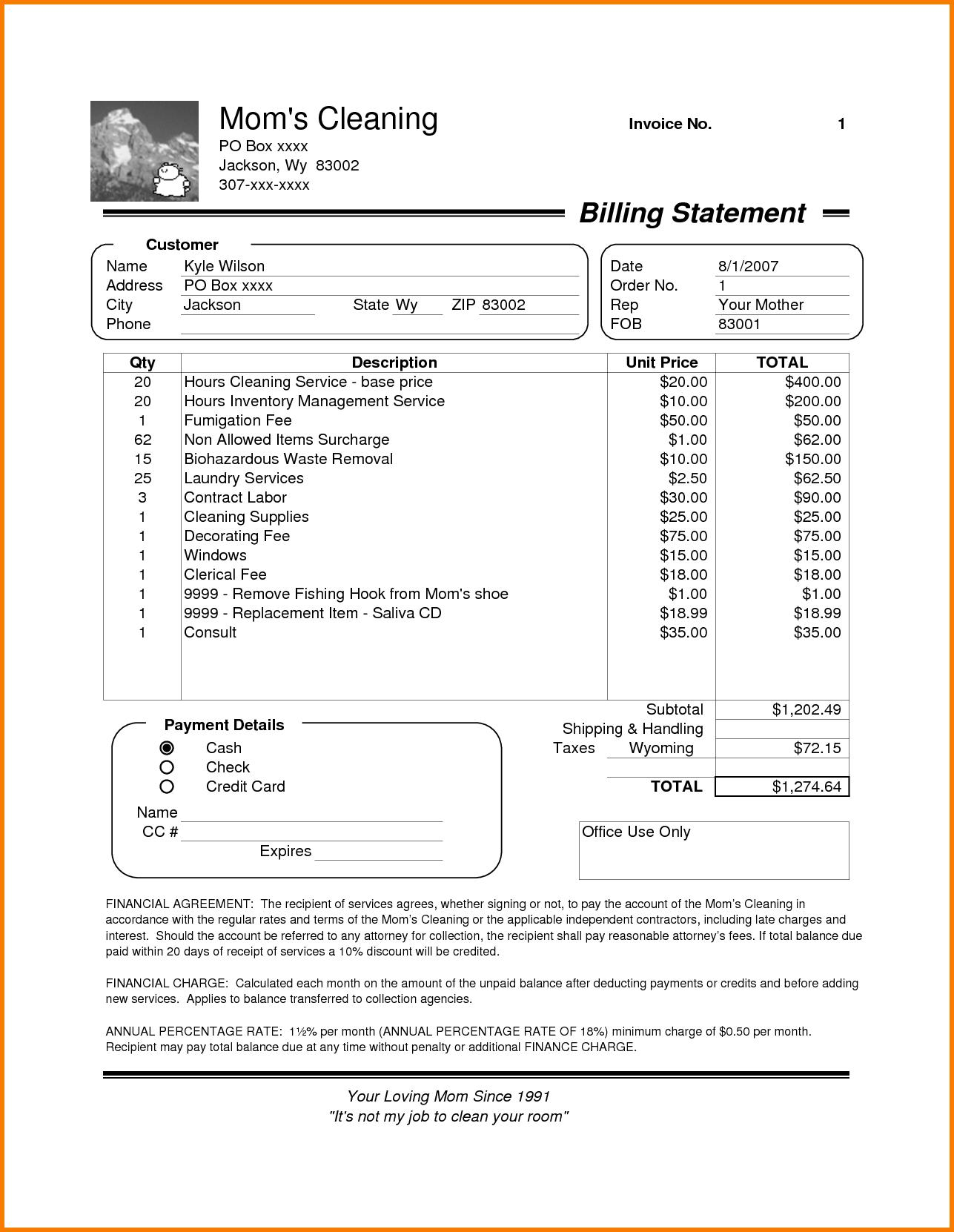 Commercial Cleaning Invoice Template