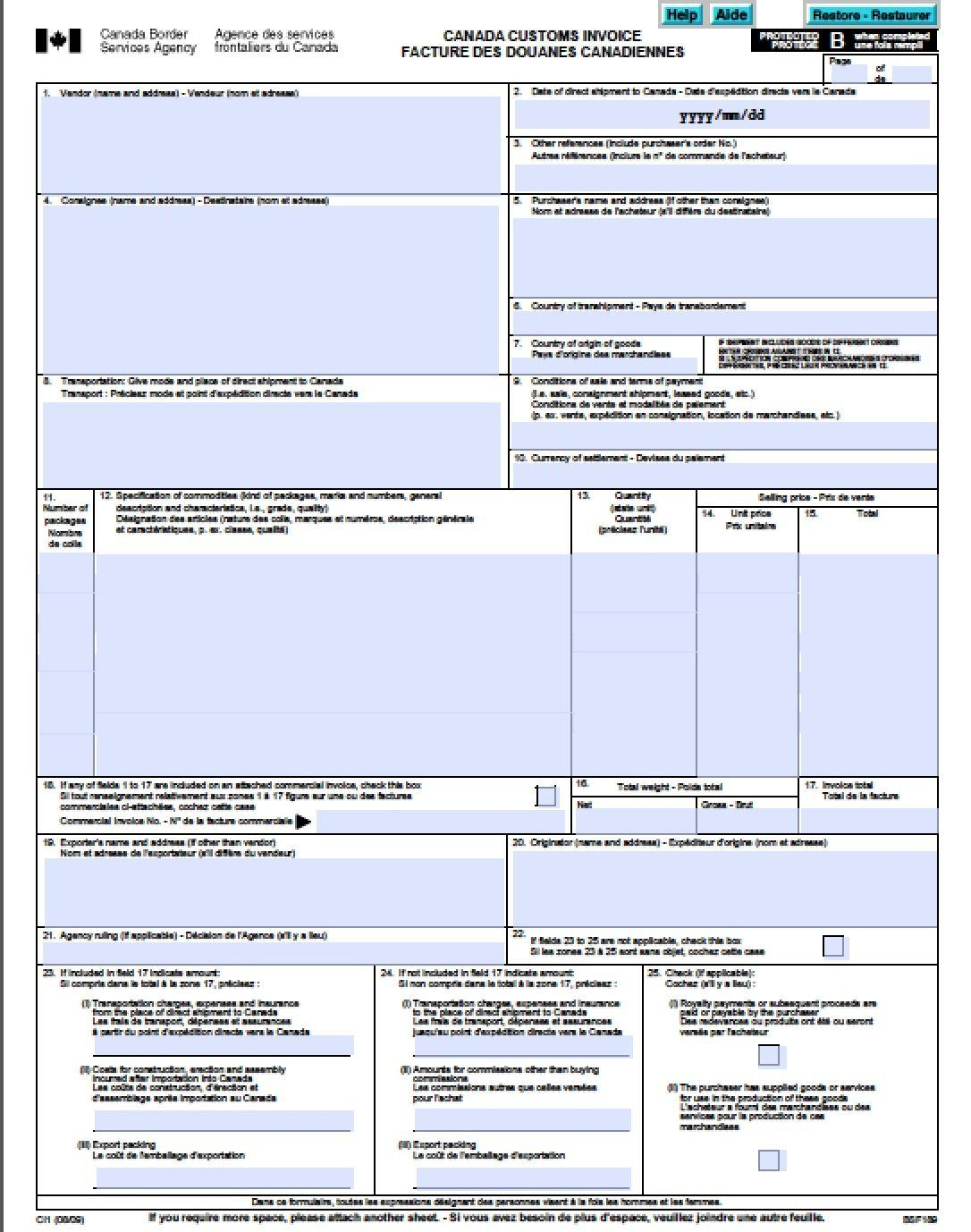 Commercial Invoice Template Canada